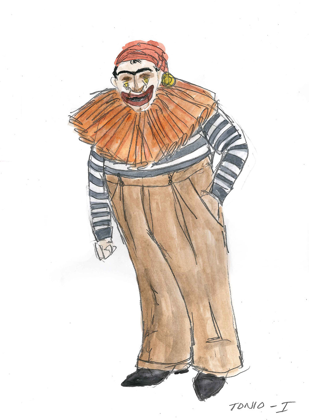 Sketch of Tonio - Look 1 for  Pagliacci,  composed by Ruggero Leoncavallo.  Photo Courtesy of Grier Coleman.