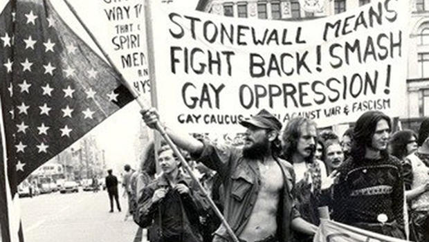 Gay activists protest after the Stonewall Rebellion. Photo by Leonard Fink