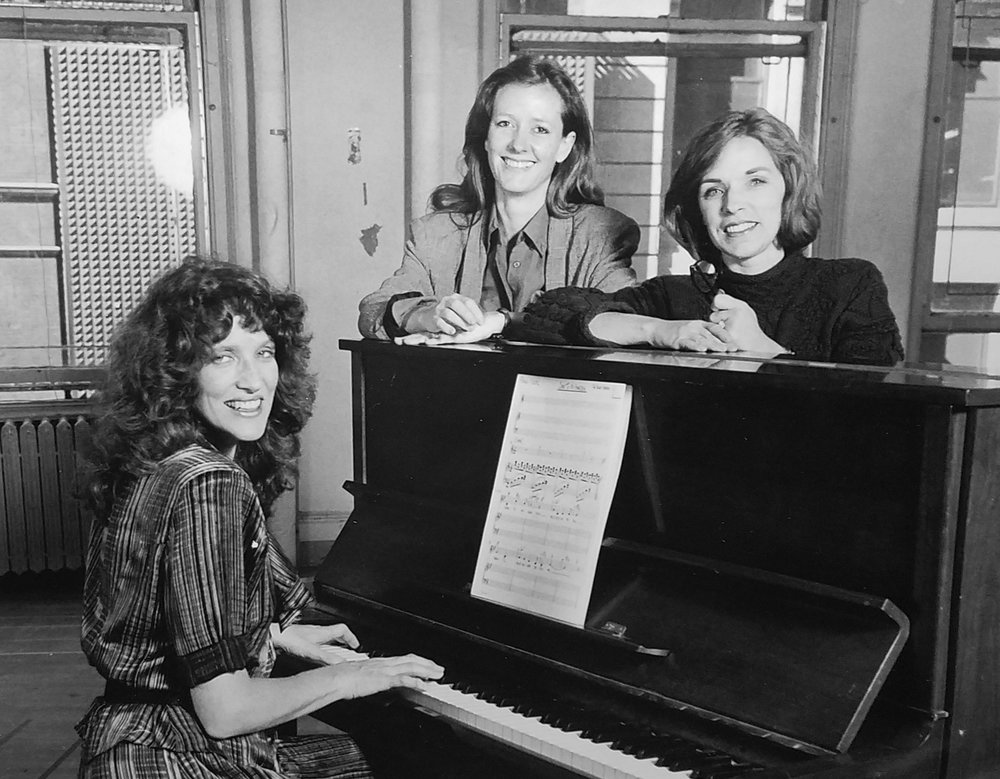 Lucy Simon (Composer), Heidi Landesman (Set Designer/Producer), Marsha Norman (Lyricist/Playwright), in the VSC's NY rehearsals, 1989. Photo by Marc Bryan-Brown.