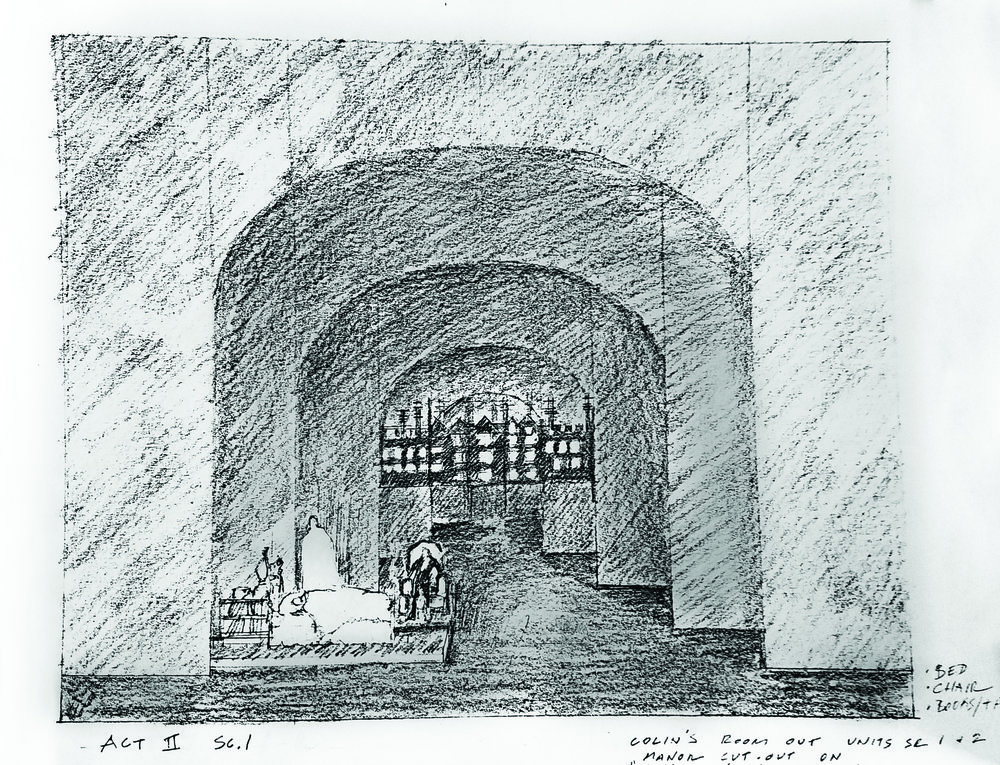 A sketch of Heidi Landesman's set for Virginia Stage Company's  The Secret Garden.
