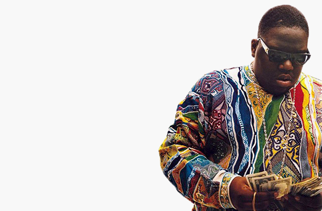 Notorious B.I.G. in a Coogi Sweater via Highsnobiety