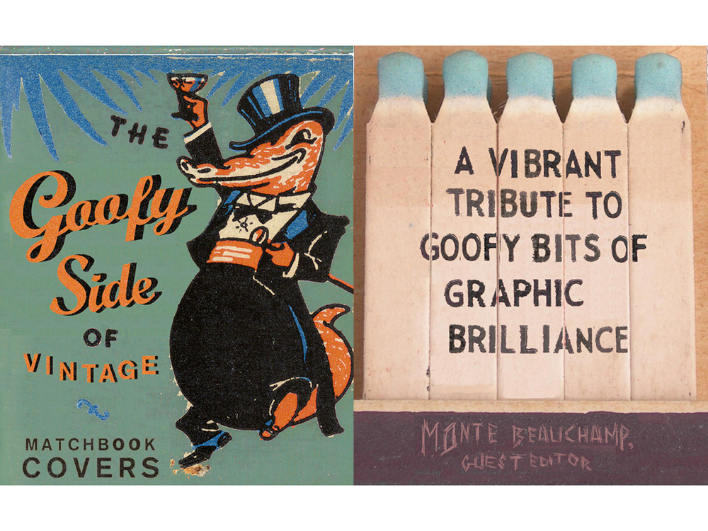 Vintage matchbooks have some of my favorite sources of visual inspiration: cartoons, the texture of old paper and cheap, four color process printing. The alligator was so cool, I put him on the splash page and changed the original colors he was printed in to add contrast. Cheaply printed type on the matches seemed like an obvious choice for the subhead, while spelling out the author's name with scratches on the striking surface was another chance to have fun with typography.