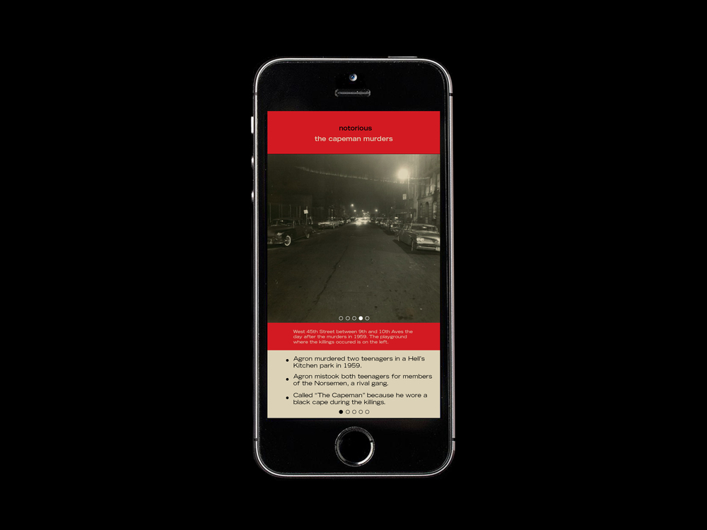 Location based technology shows the user a view of the street where the crime took place in 1959.