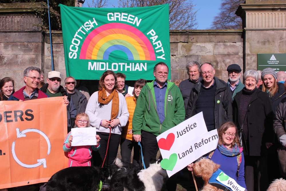 The Green Party, RISE and land reform protestors gather at Dalkeith Town Gate.