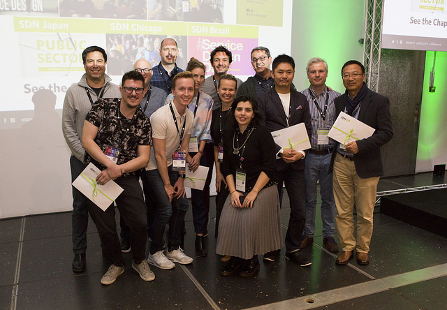 Teams of volunteers that lead the SDN chapters celebrate winning awards for their contribution to service design at the Service Design Global Conference 2017 in Madrid.