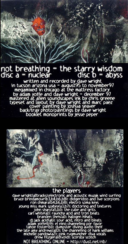 Not Breathing – Starry Wisdom CD Inserts (1997)