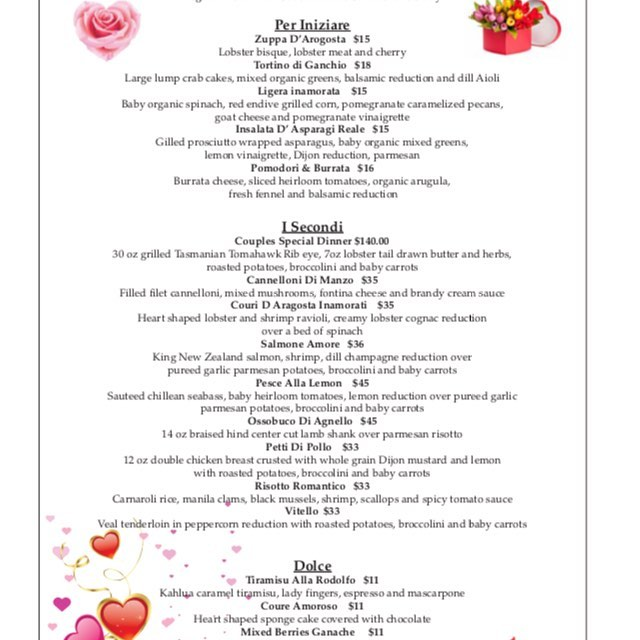 Valentines menu 2-8 to 2-14 Reserve Now