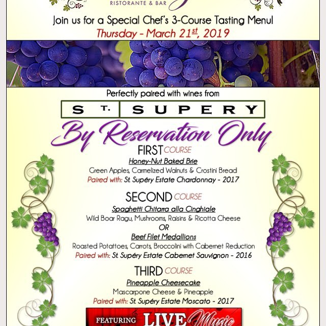 Wine Pairing Dinner limited Seating reserve Now