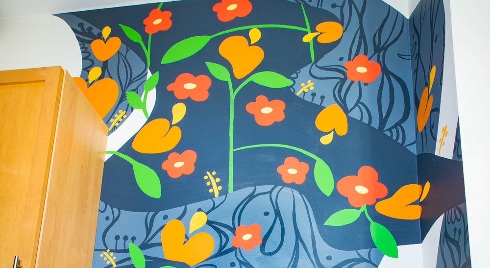 New Mural - Fluid fun in a Cambridge Kitchen