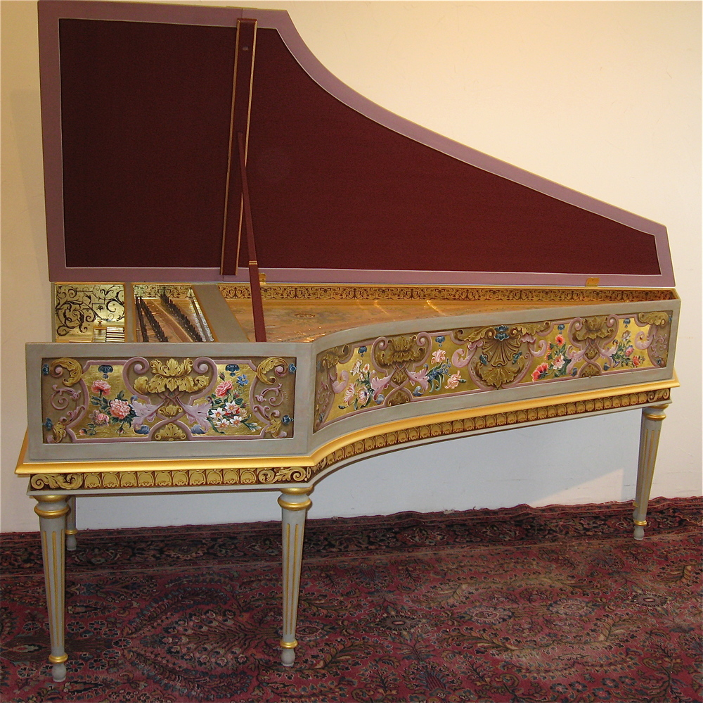 Harpsichord   after   Blanchet  opus   398     belonging    to     elizabeth    Farr .   This   is   one   of   my   most   favorite   decorations   both   to   do   and   to   look    at   -   It   is   based   on   the  couchet   double   in   the   metropolitan   Museum    of   art   in   New   york   city.    The recording below was made on this instrument.