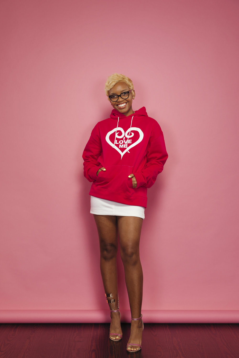 Hot Pink Hoodie, White Heart - Shop Now