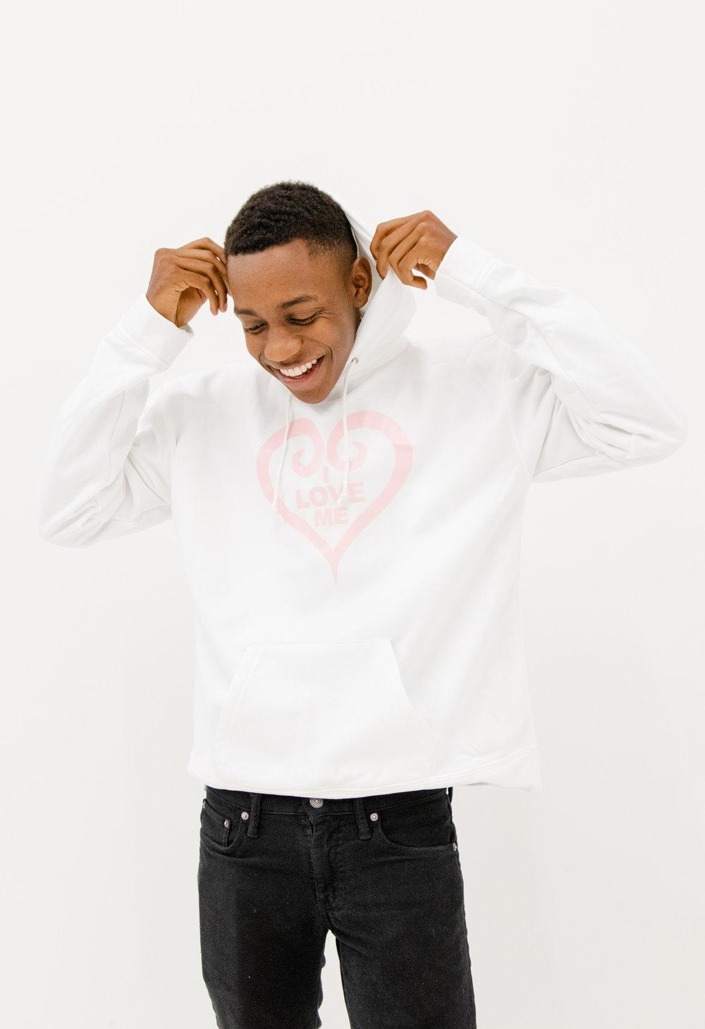 White Hoodie, Soft Pink HeartShop Now -