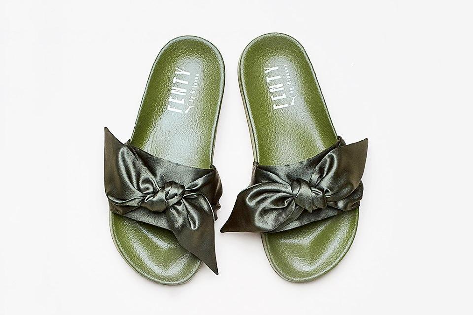 FENTYxPUMA Olive Green Slides with Satin Bow