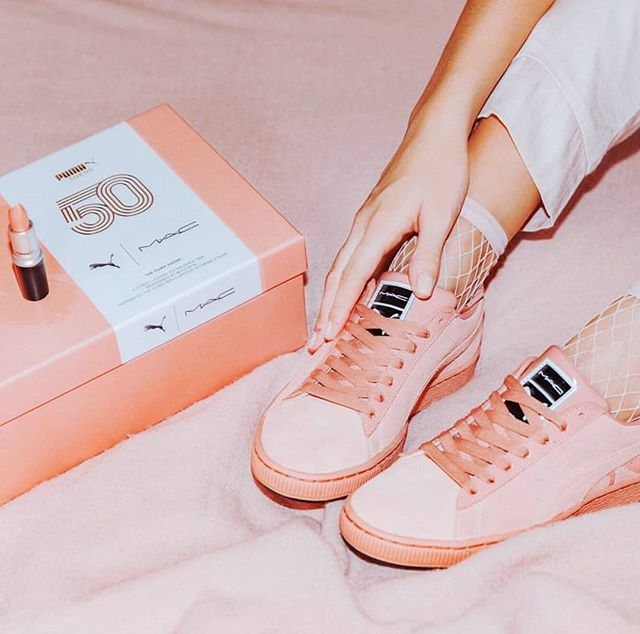 So Puma x Mac totally happened yesterday. Fan or foe??? #pumaxmac #puma #pinkfeed #mac #LifeisMostlySugar