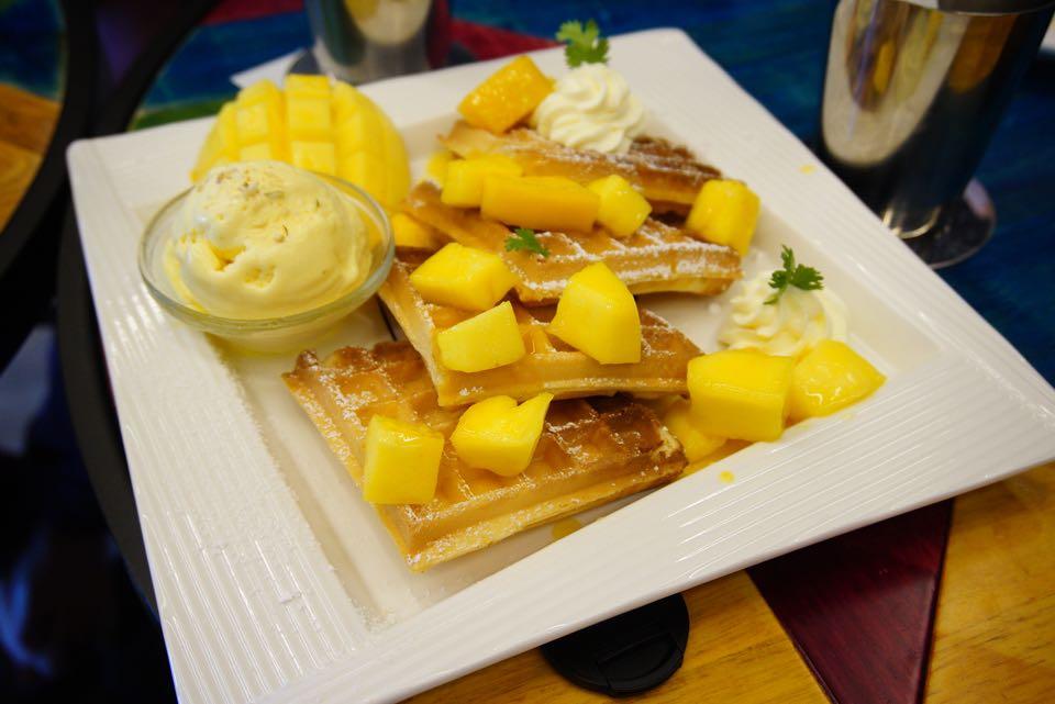 Mango Waffle with Ice Cream