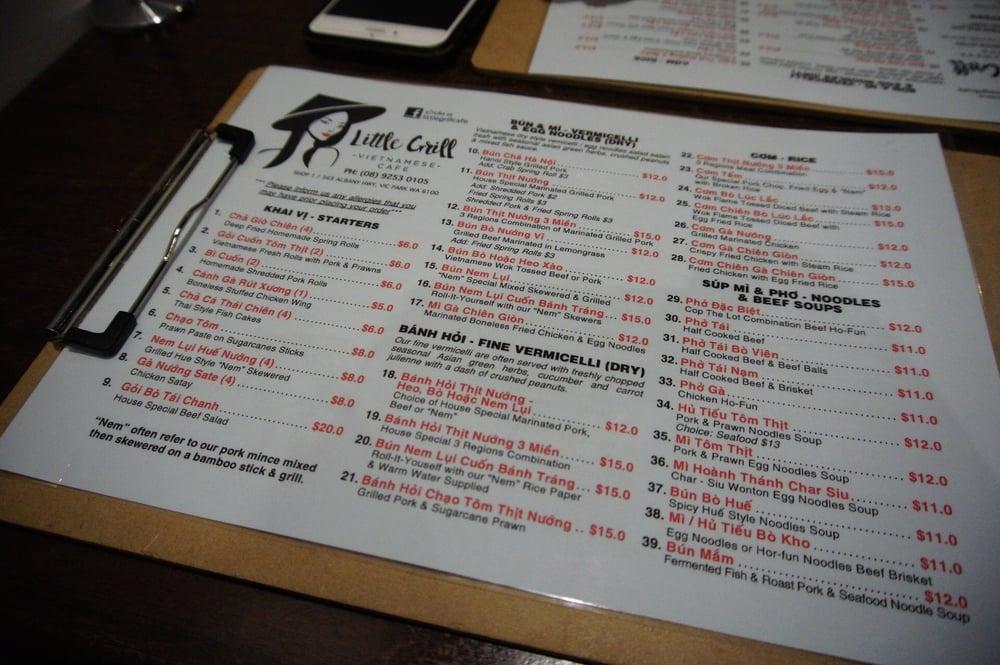 Little Grill Vietnamese Cafe Menu