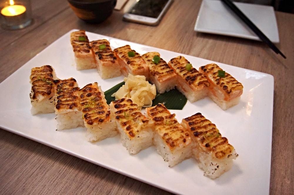 Modern Eatery Ebi Salmon Oshi