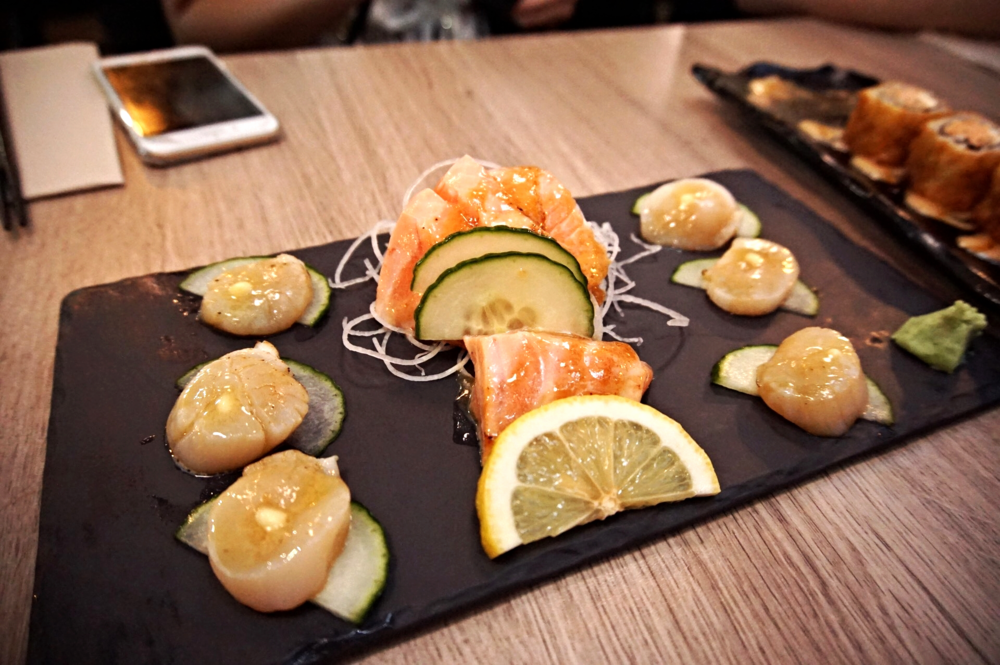 Aburi Sashimi: Hokkaido Sea Scallop with Butter & Soy, NZ King Salmon with Miso
