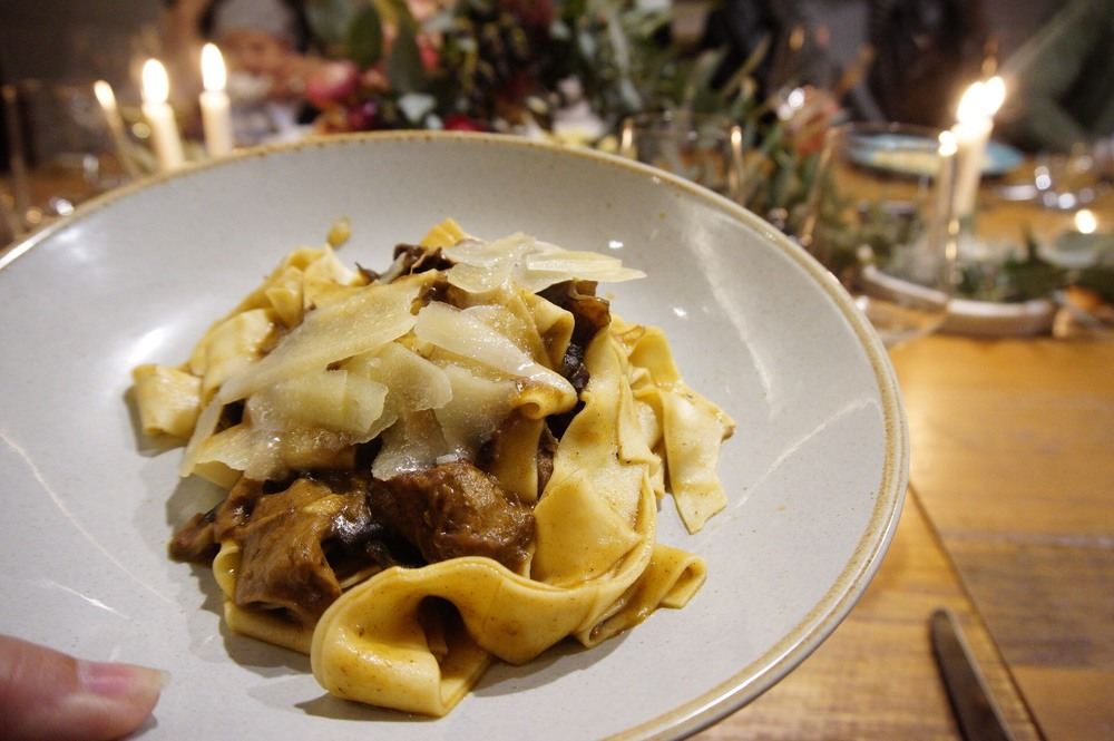 Hand cut pappardelle, Chianti wine, forest mushrooms and Tuscan's pecorino
