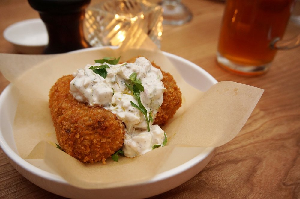 BBQ Piggy Croquettes with apple tartar