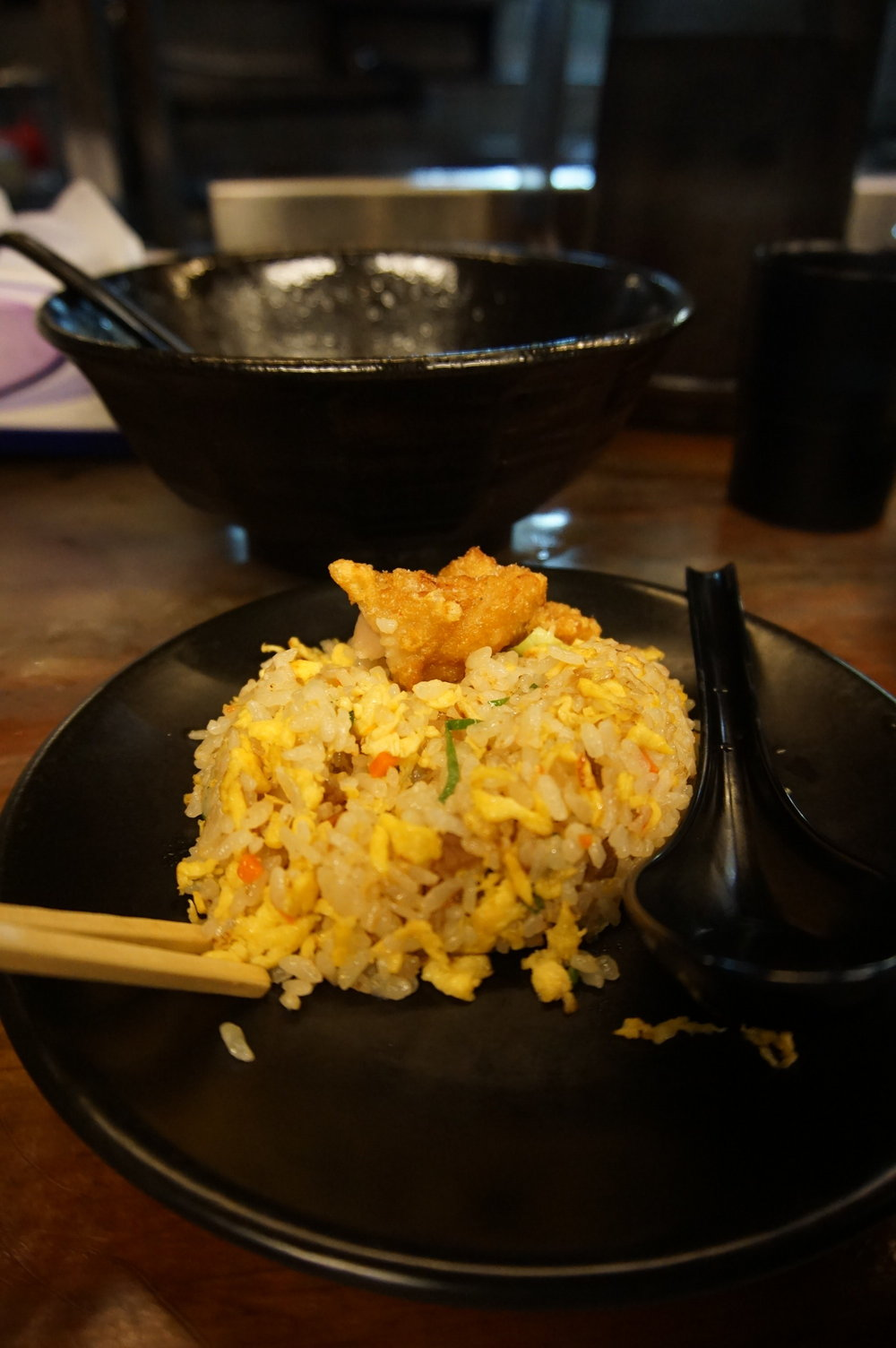 Post ramen: free fried rice! Very enjoyable with our fried chicken.