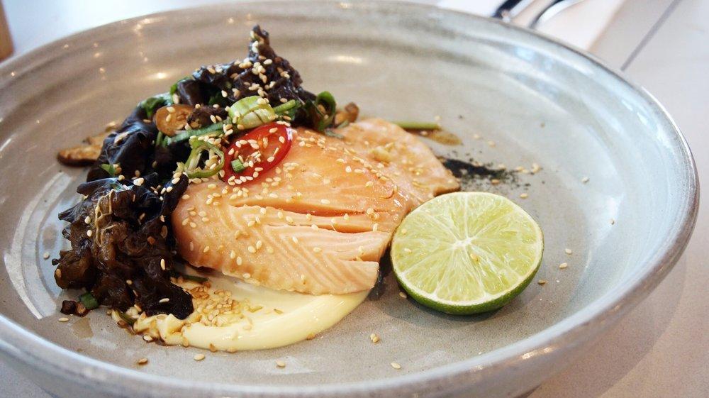 Poached Tasmanian salmon Odyssea