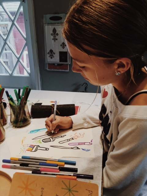 During our February TGC meeting, we had fun with a series of creative drawing exercises. Roxy is finishing up her drawings of paintbrushes after learning how to sew a pencil holder for her supplies.