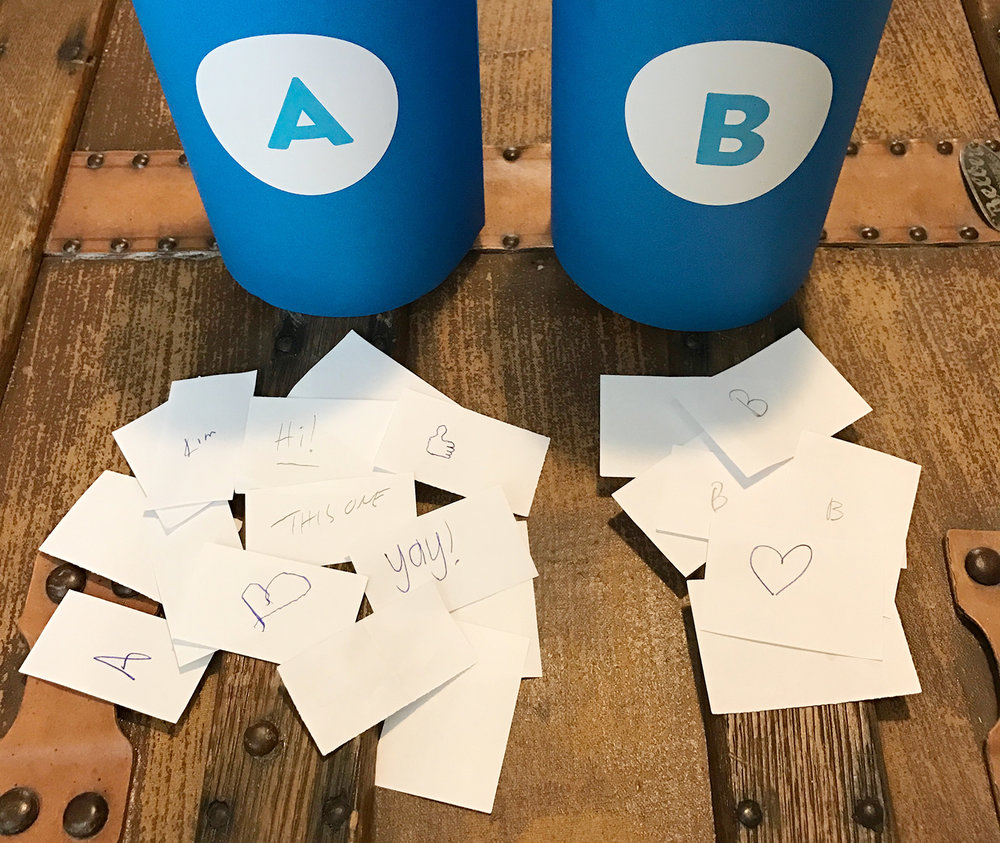 "It also appears that people who voted for ""A"" are more likely to doodle, while those that voted for ""B"" just really wanted to emphasize their vote. There were of course a couple outliers."