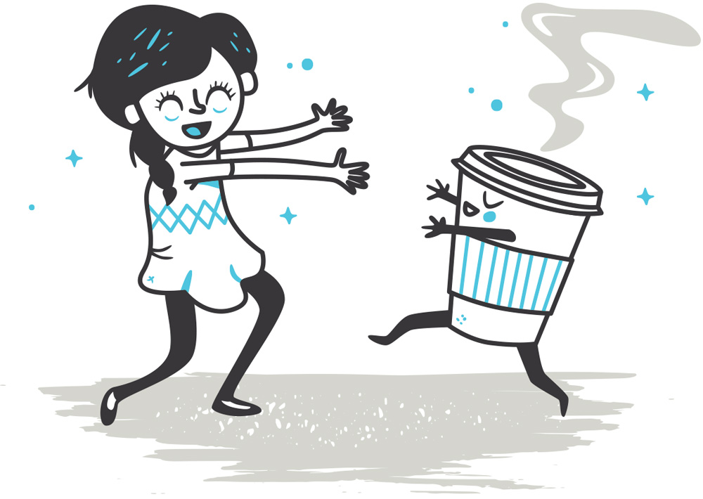 Girl running toward coffee cup