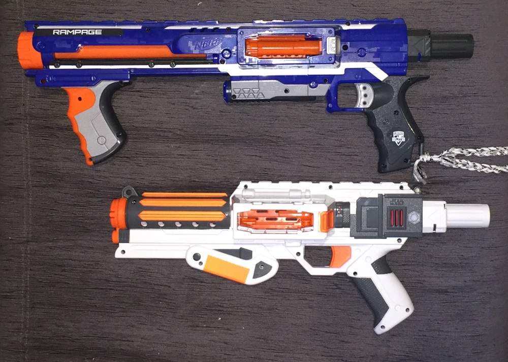 The Deluxe Blaster compared to a Rampage