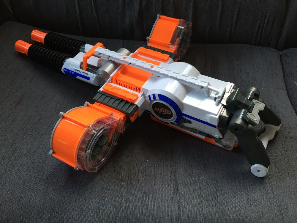 nerf gun rhino fire Full auto machine gun 2x25 drum mag tripod bullets  57.99p for