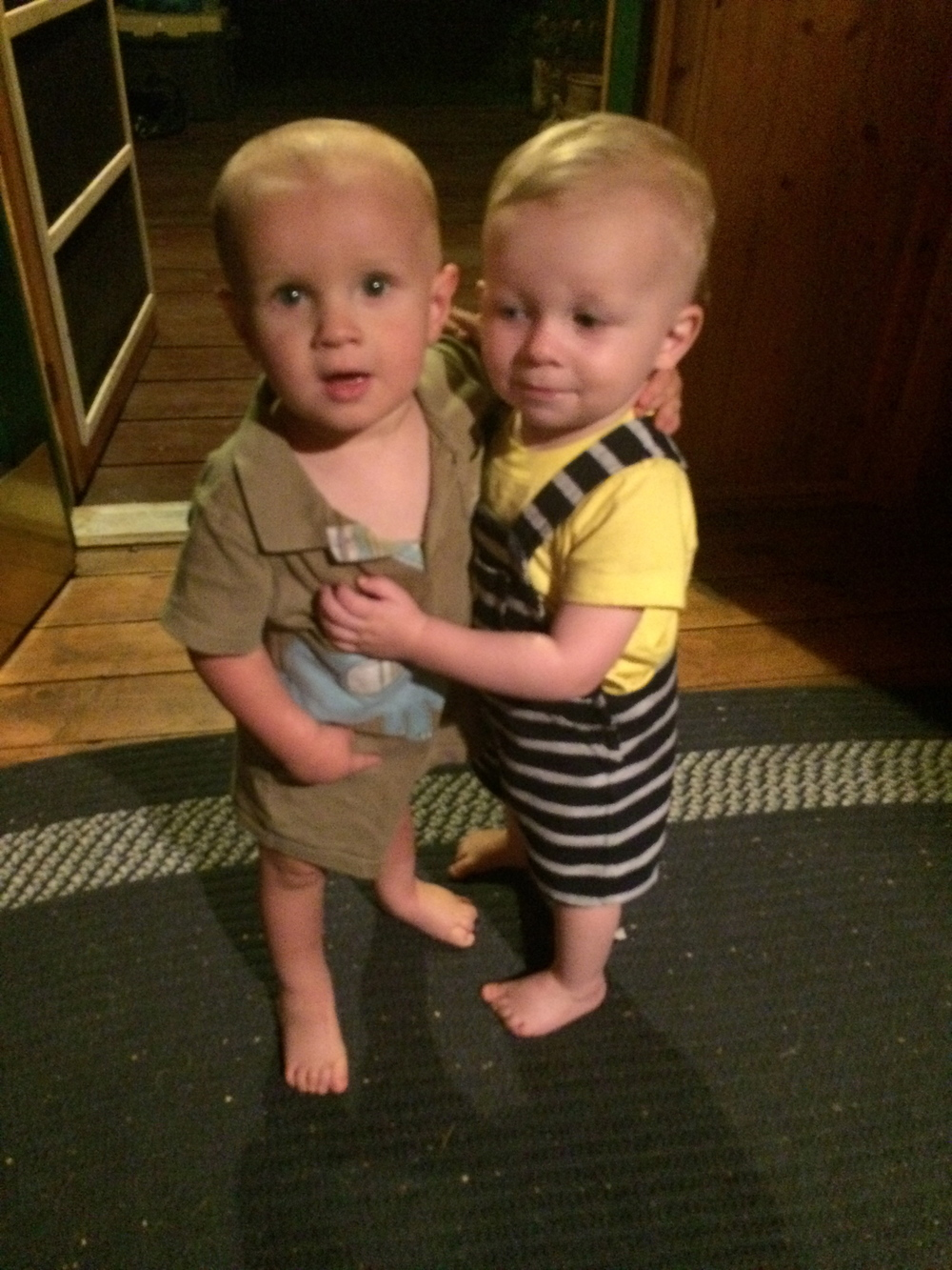 When he could catch Finn, Lucas (one month older) LOVED him and gave him hugs.