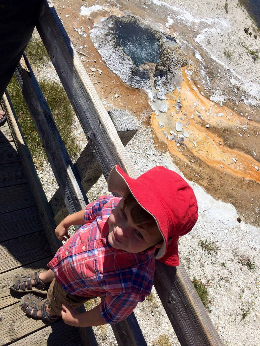 "From the onset of our trip to Yellowstone, Asher was desperate to see the volcano, or as he says it, ""Gocano."" He was not satisfied with my ""you're standing on it, it's an underground caldera"" explanation. It took awhile to convince him that all the little boiling hot springs and geysers were not volcanoes. Perhaps I should have let him run with it."