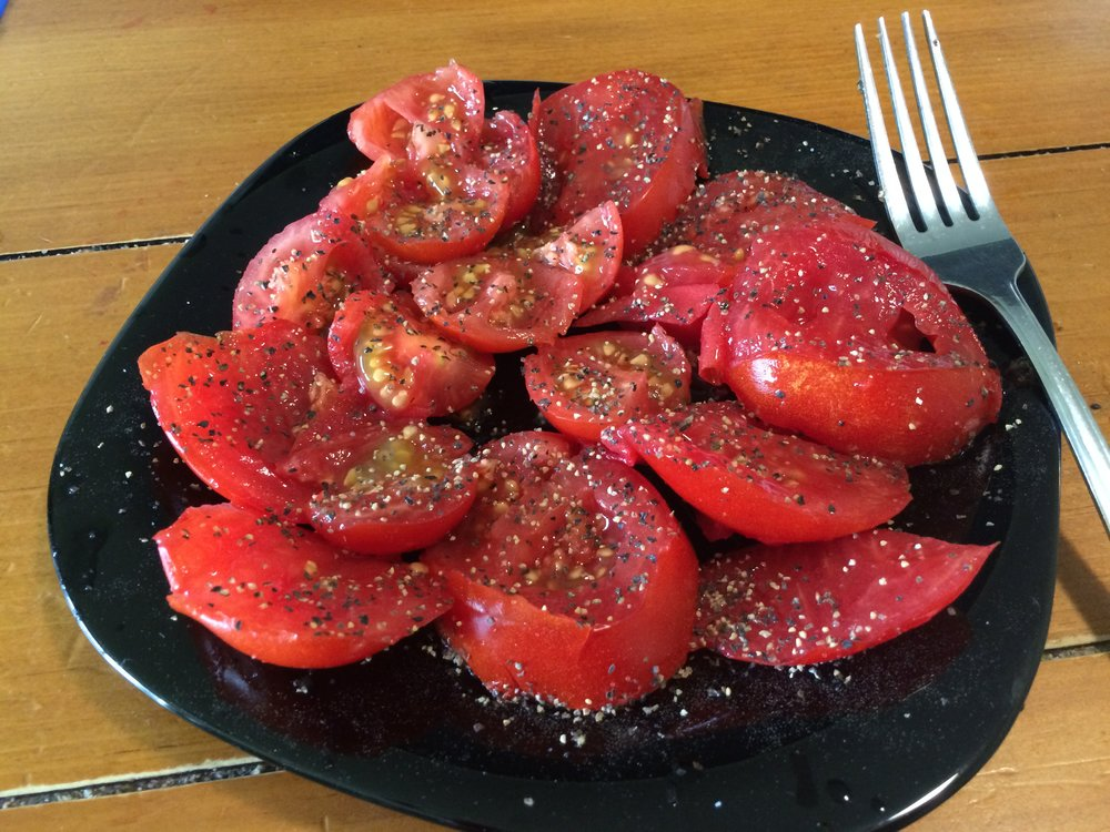 The tastiest fruits of my labors. Store-bought tomatoes bear no resemblance.
