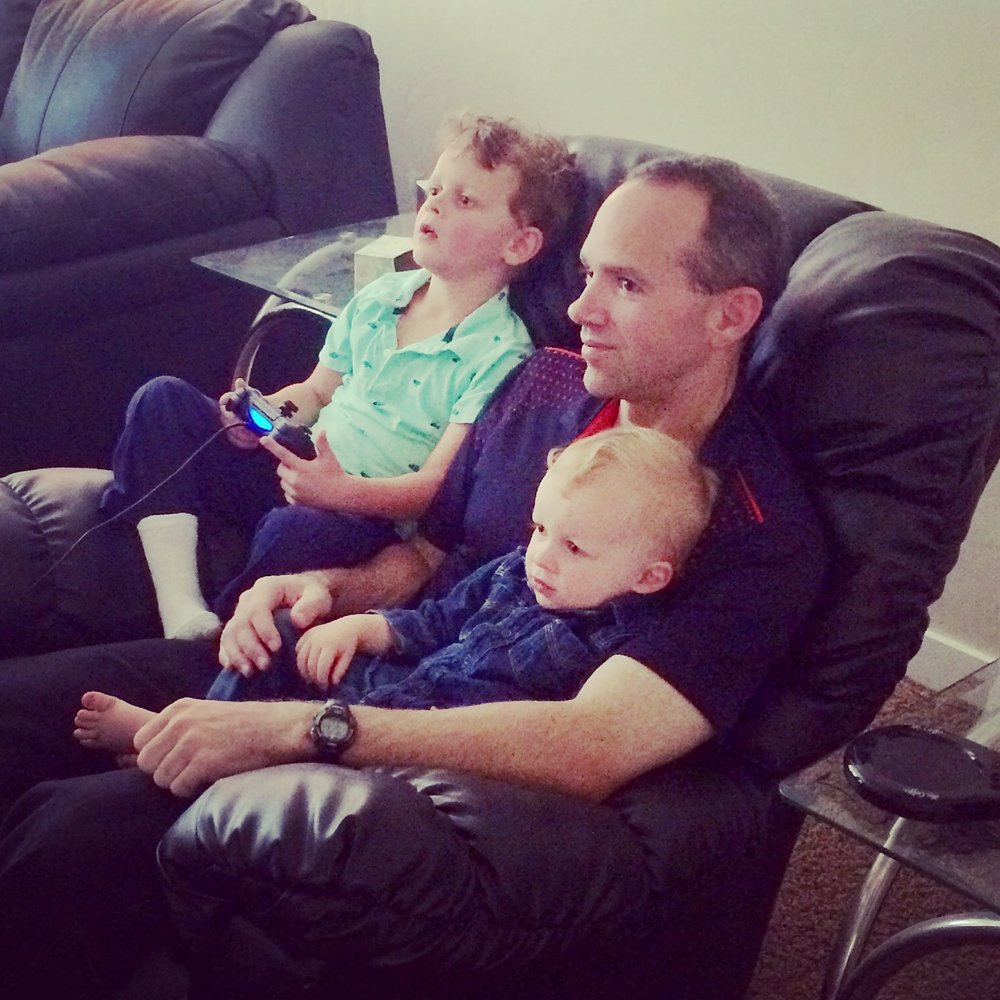That night we stayed at my brother Michael's house, which afforded him the opportunity to introduce my boys to video games. If any single, eligible lady is reading this, you need to scoop this guy up. He is by far the most eligible bachelor I know, and he likes kids!