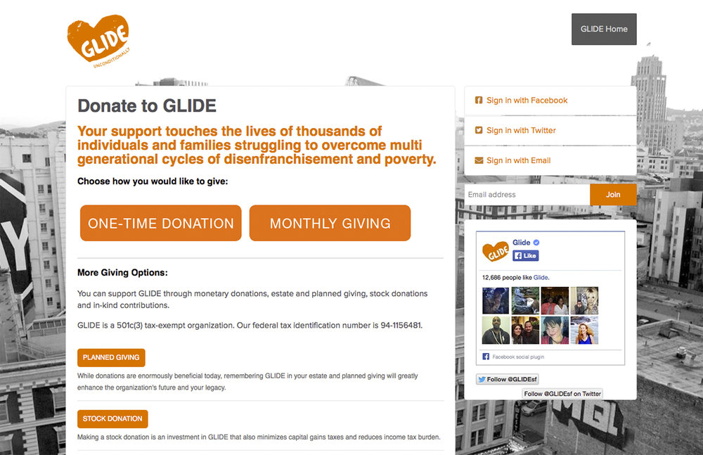 Glide Foundation website : NationBuilder