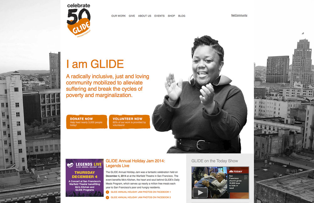 Glide Foundation website : Blackbaud / NetCommunity