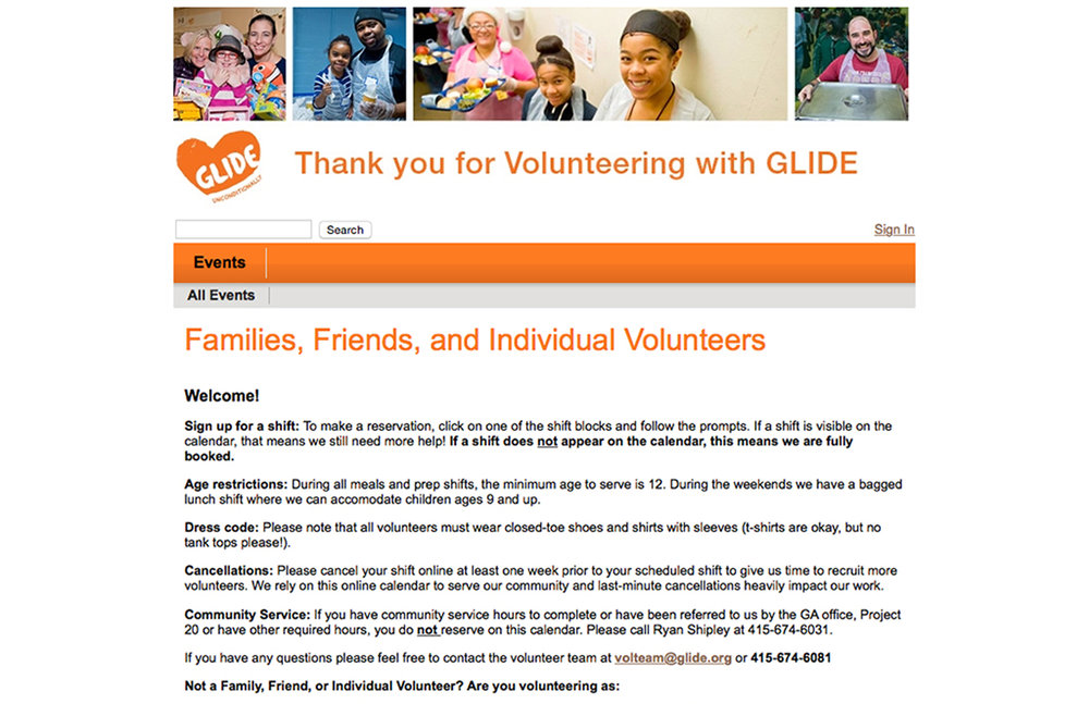 Glide Foundation website : Volunteer Hub