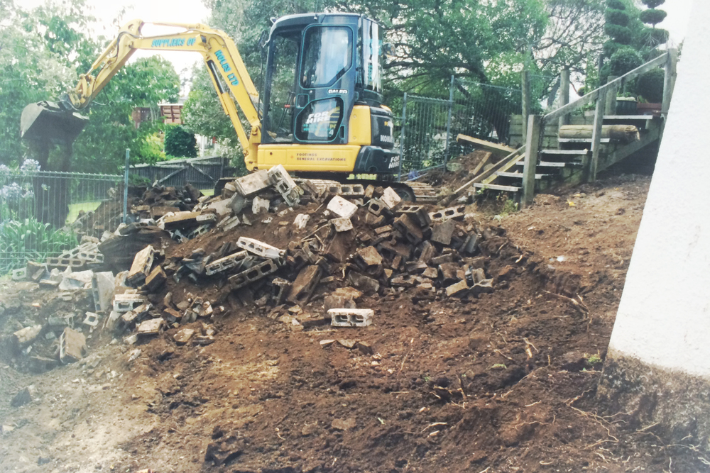 Excavation and shaping for stairs and platforms