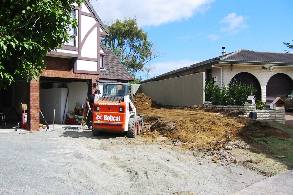 Excavation of garden and driveway