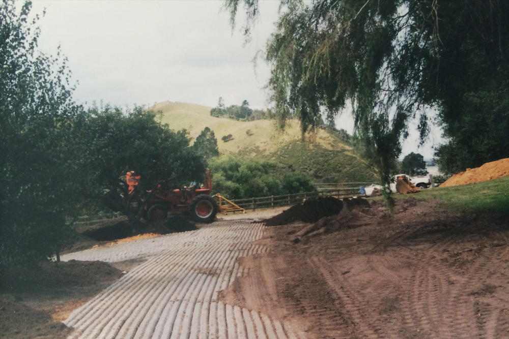 Excavation for planting around the wool shed