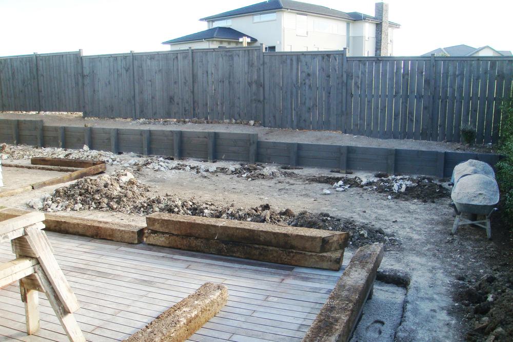 Work on the back garden, railway sleeper edging