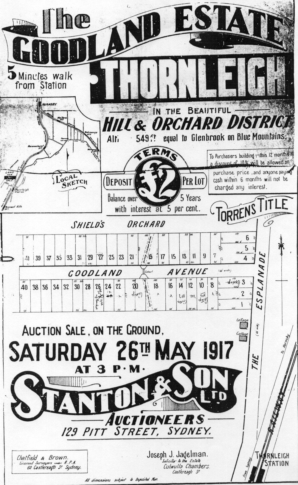 Poster Promoting Goodland Estate subdivision 1917