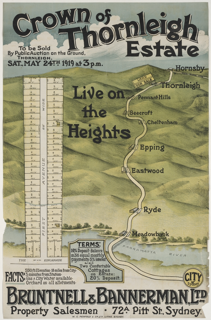 Poster Promoting Subdivision around Oakleigh Ave 1919