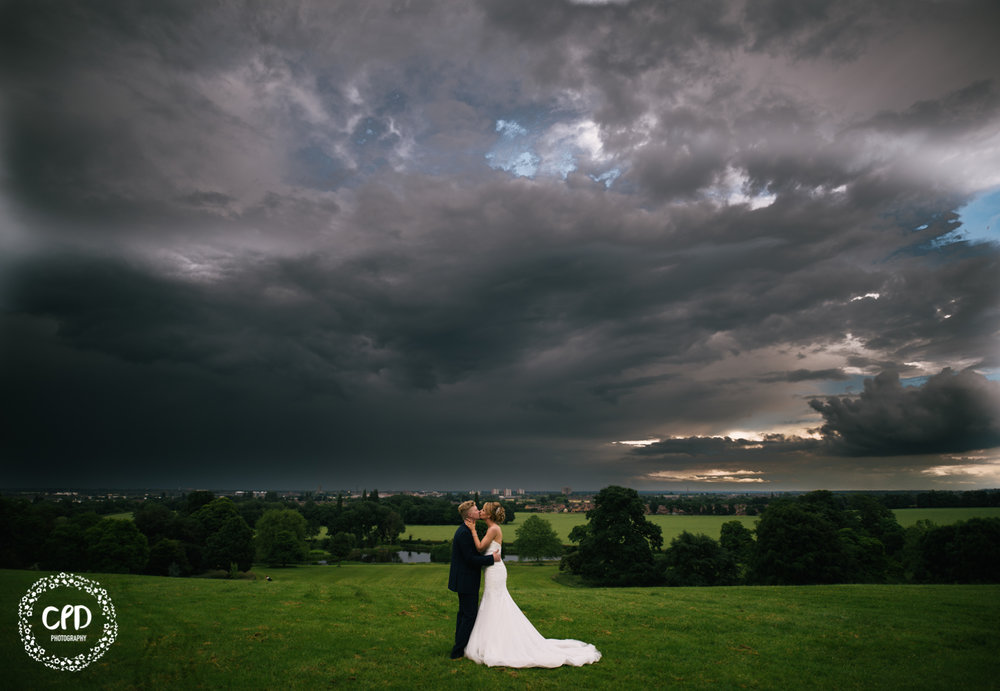 Bride and Groom with massive sky