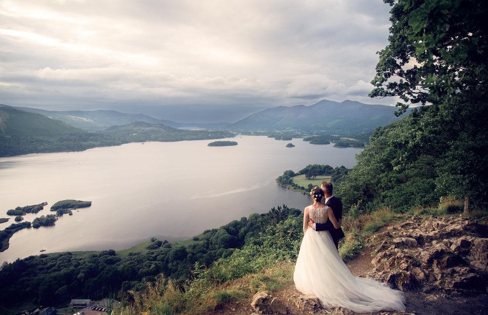 Bride and Groom portrait overlooking Derwent Water