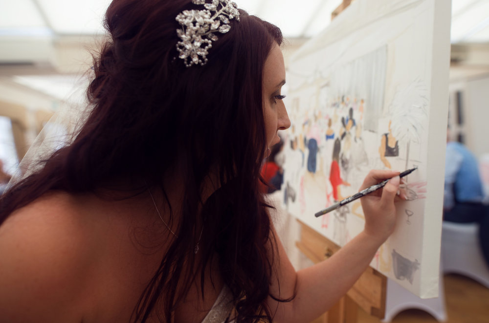 The bride Lynn adding a few finishing touches to todays artwork