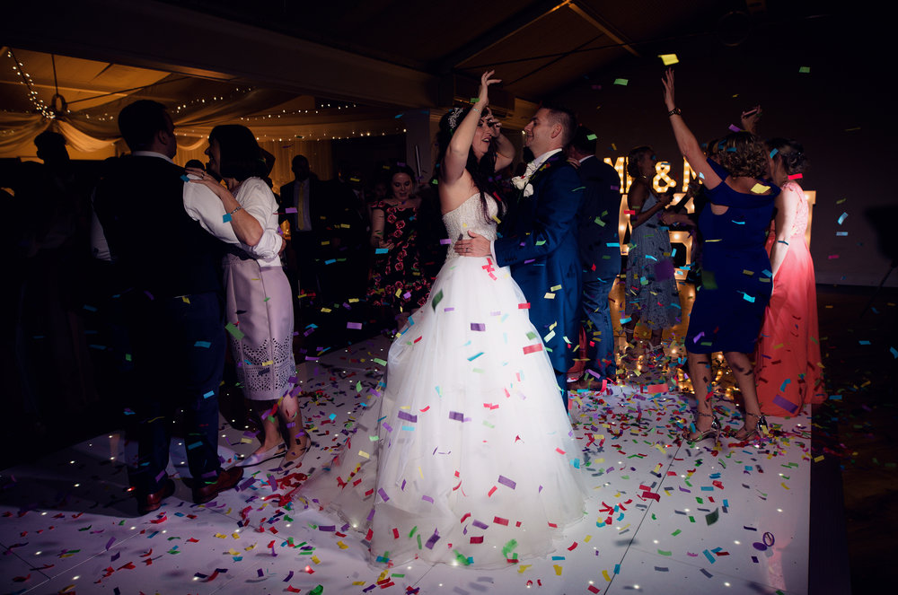 First dance madness along with two huge confetti cannons