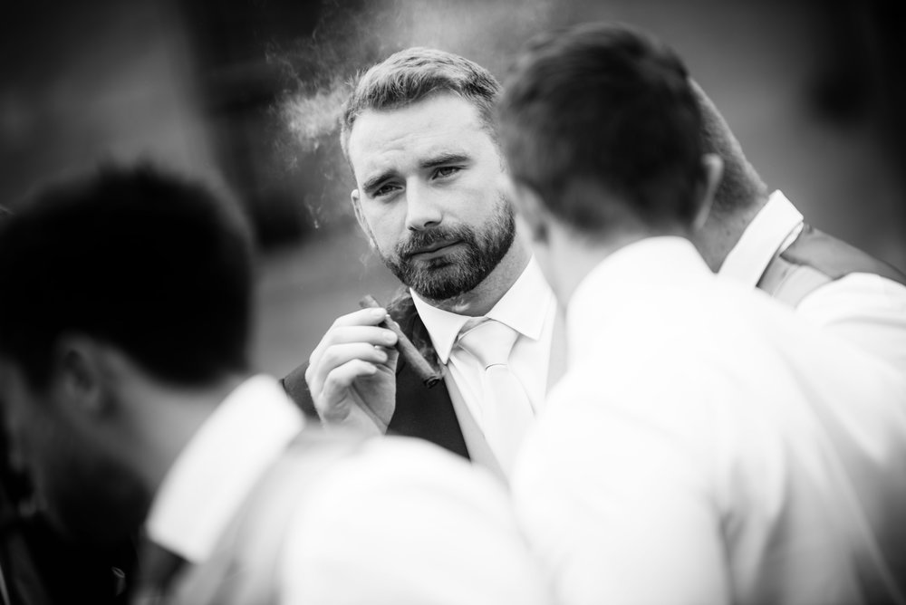 The groomsmen cigar time