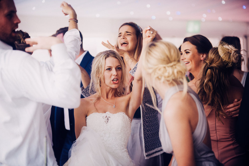 The bride and her friends on the dancefloor